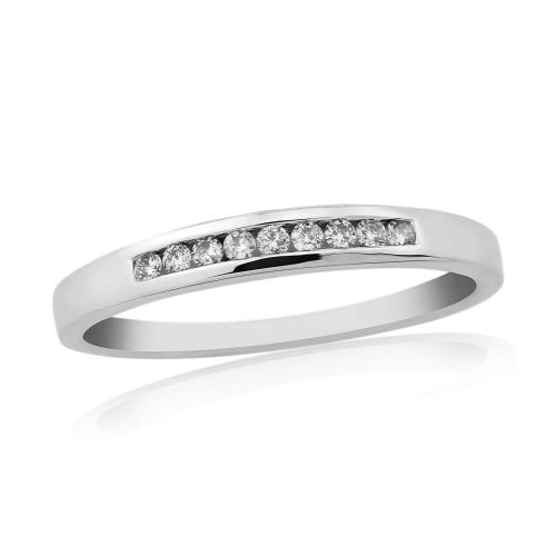 White Gold Diamond Eternity Ring Channel Set 10 Points